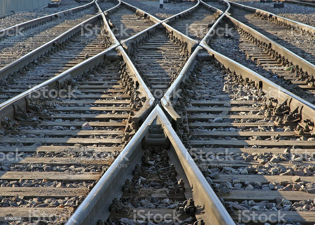 A low angle photograph of criss crossed railroad tracks stock photo