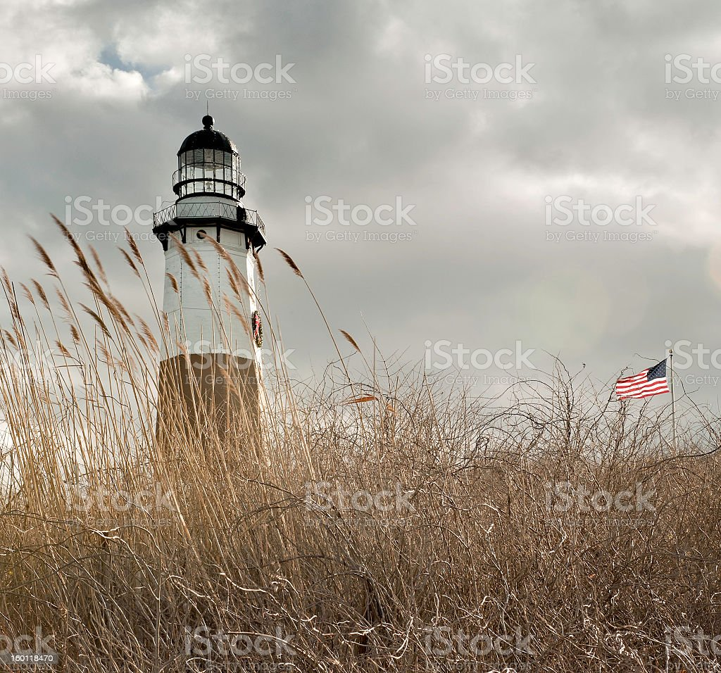 Low angle shot of a field outside Montauk Lighthouse stock photo