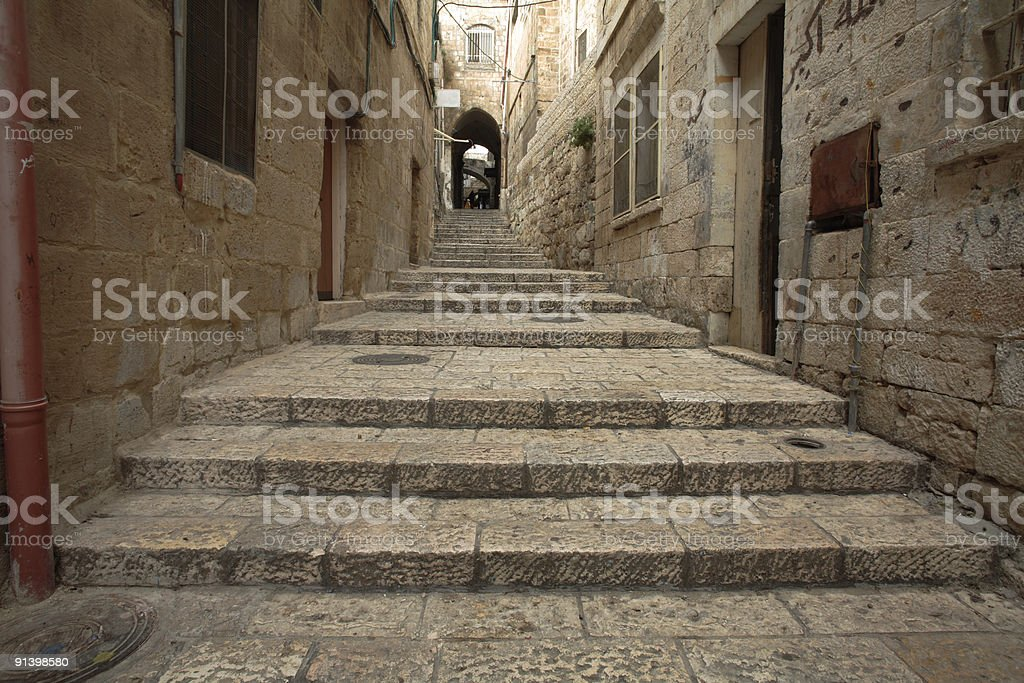 Low angle shot of an alley in Old Jerusalem royalty-free stock photo