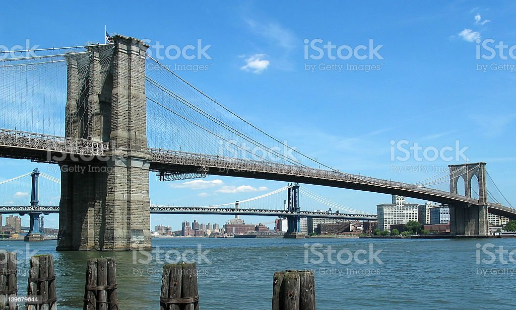 Low angle shot of Brooklyn and Manhattan bridges royalty-free stock photo