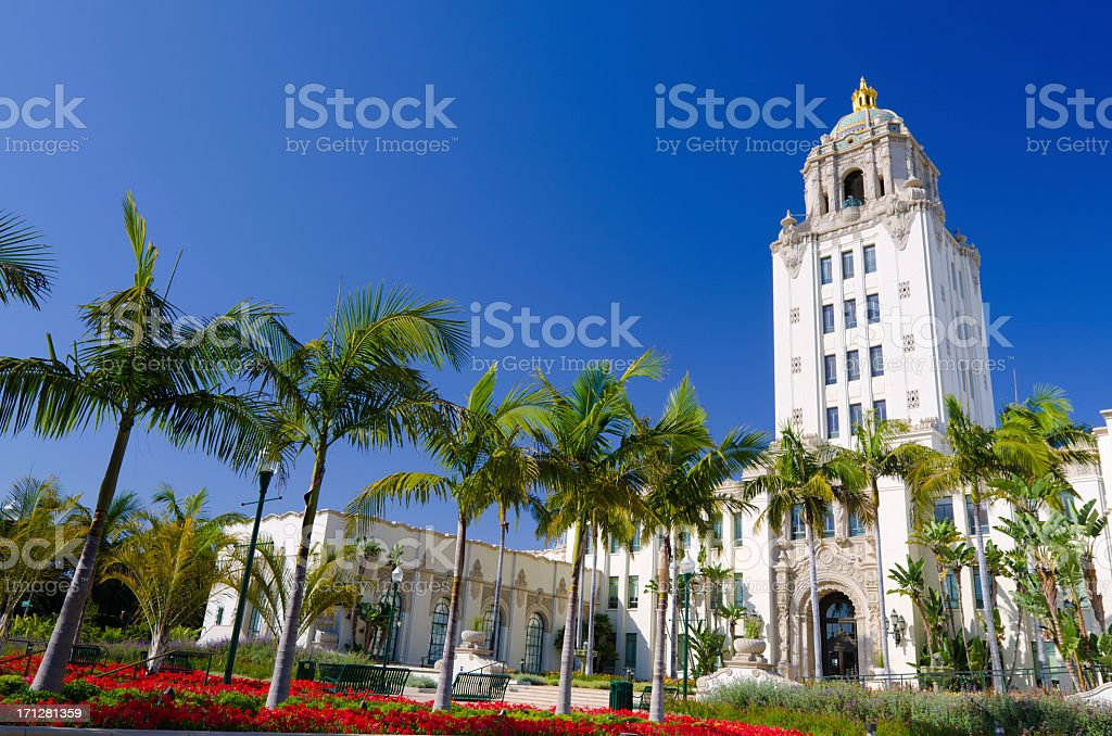 Low angle shot of City Hall in Beverly Hills, California stock photo