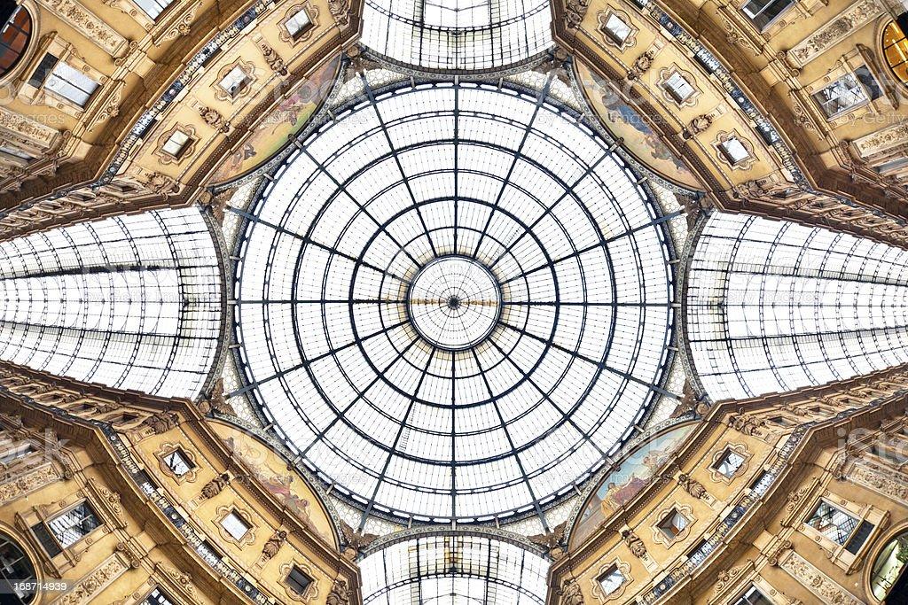 Low angle shot of Galleria Vittoria Emanuele II, Italy royalty-free stock photo