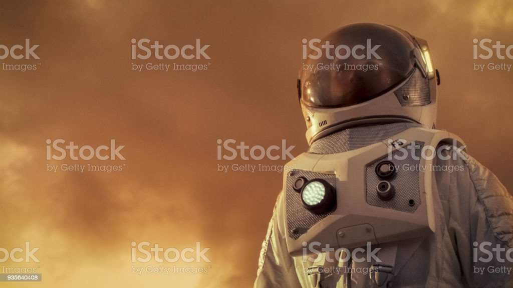 Low Angle Shot Of The Brave Astronaut In The Space Suit