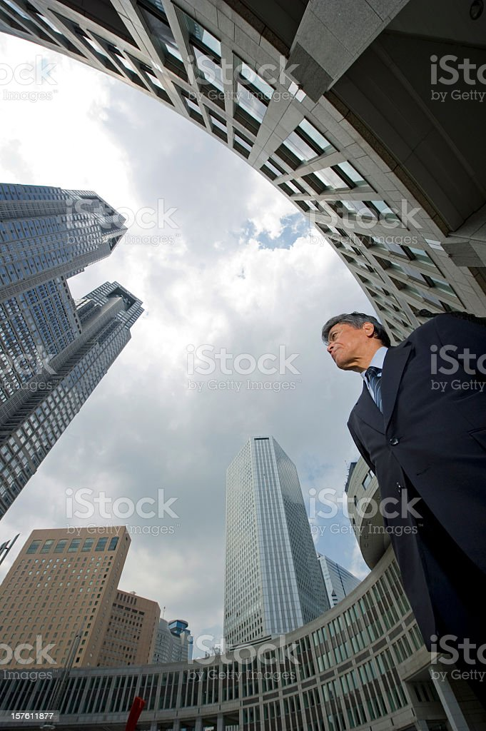 Low angle side view of a senior executive man royalty-free stock photo