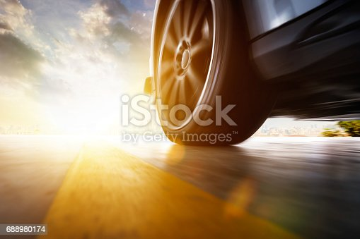 istock Low angle side view of car 688980174