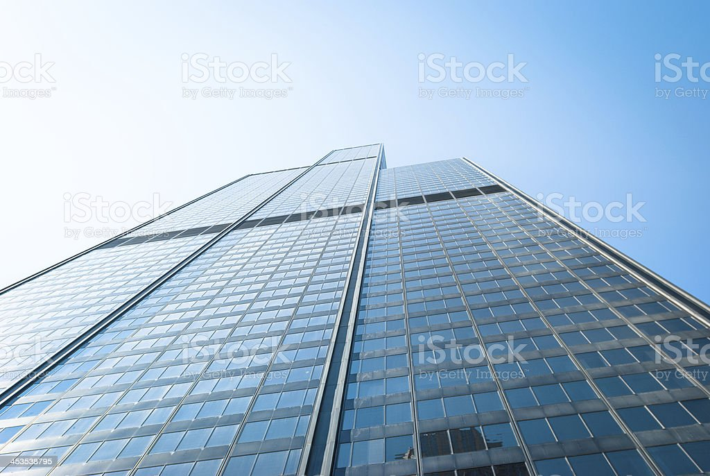 Low angle view building in chicago stock photo