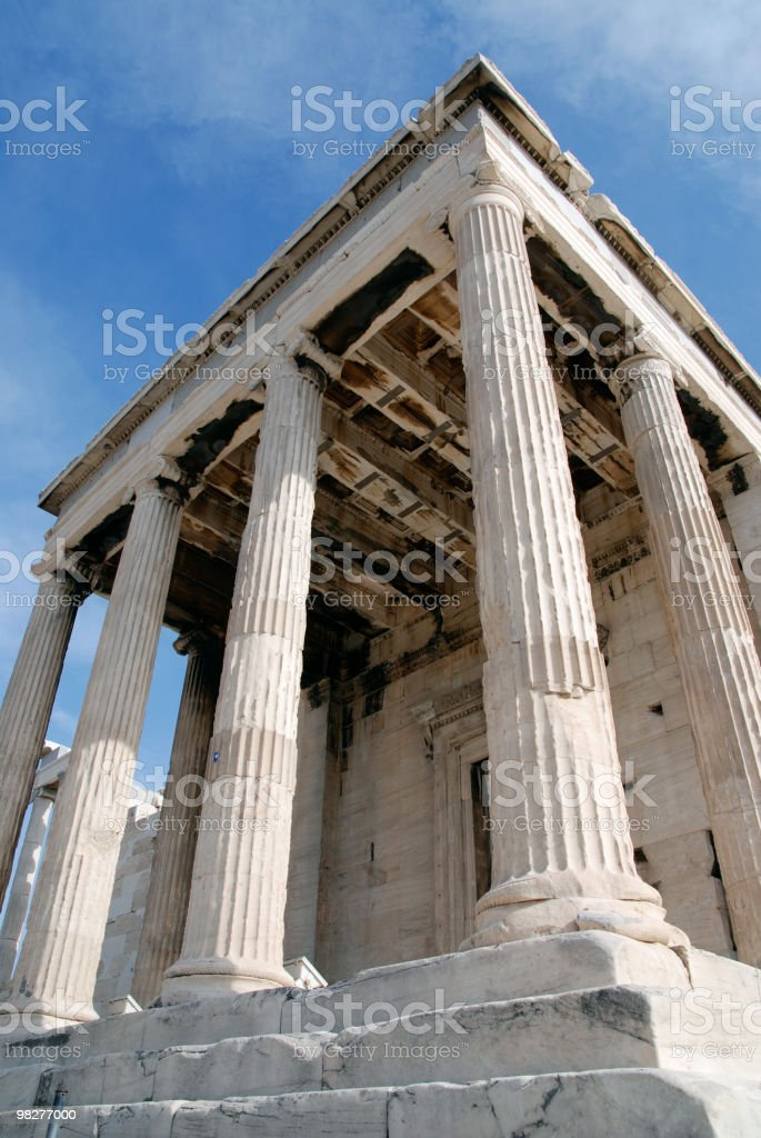 Low angle view from backsite of The Erechtheum, Acropolis royalty-free stock photo