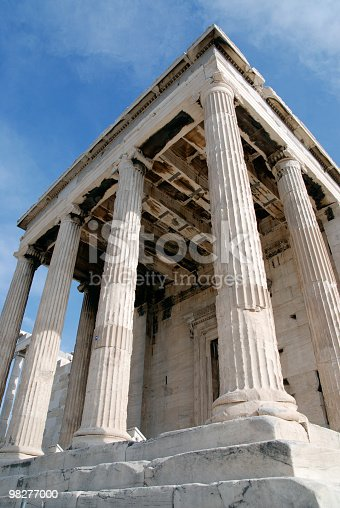 Low Angle View From Backsite Of The Erechtheum Acropolis Stock Photo & More Pictures of Acropolis - Athens