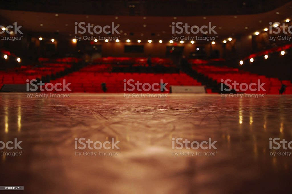Low angle view from the theater stage to the seats stock photo