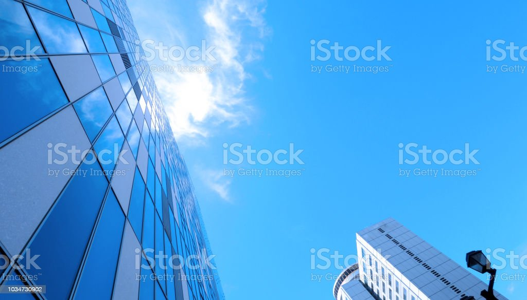 Low angle view images of office hotel and department store modern...