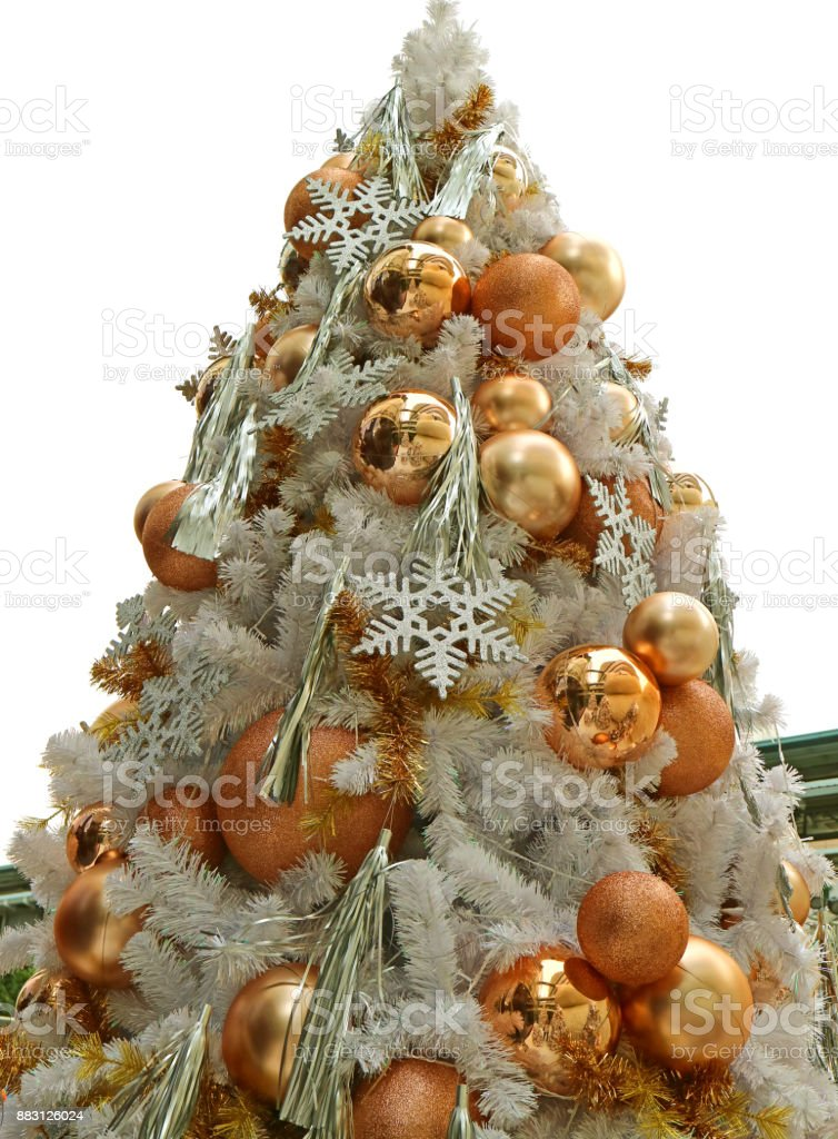 low angle view of a decorated big christmas tree full of gold and silver ornaments royalty - Large Christmas Tree Ornaments