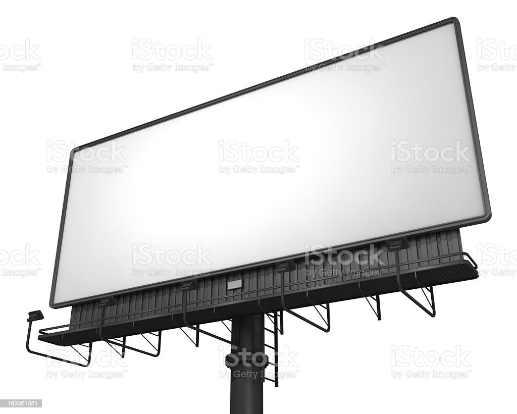 Low angle view of a large empty white billboard royalty-free stock photo