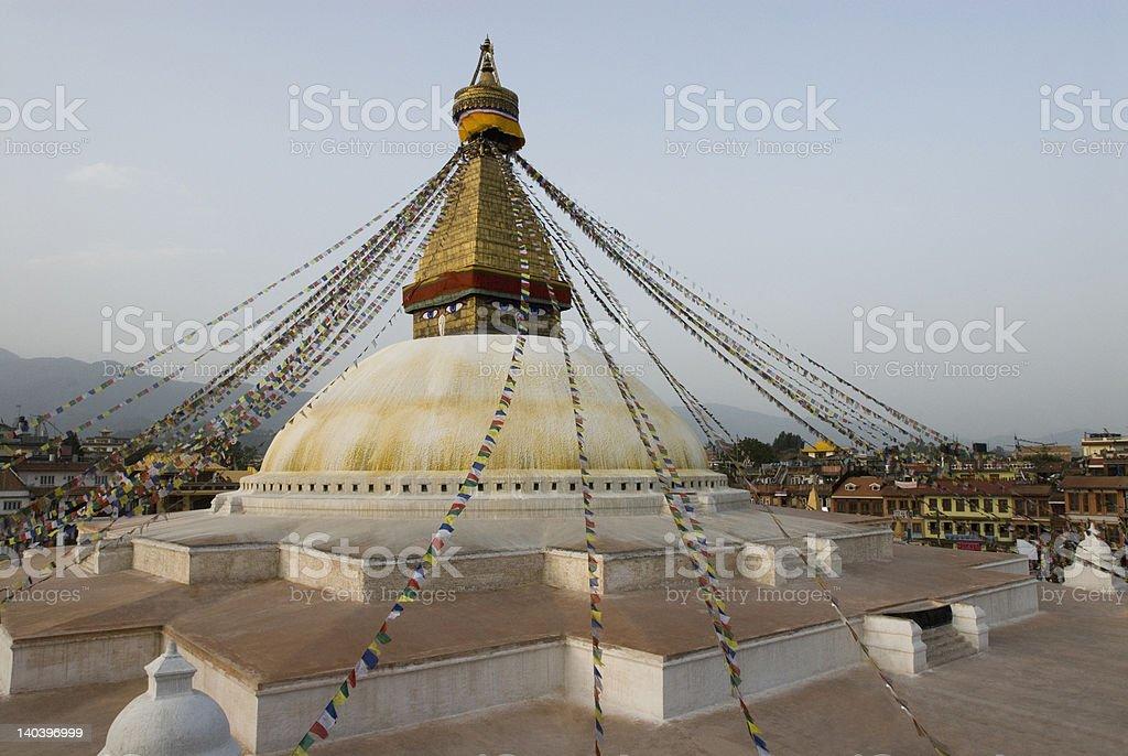 Low angle view of a temple, Swayambhunath, Kathmandu, Nepal royalty-free stock photo