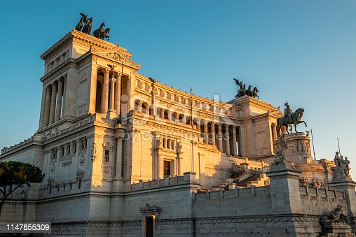 Low angle view of Altar of the Fatherland in Rome, Italy. Horizontal composition.