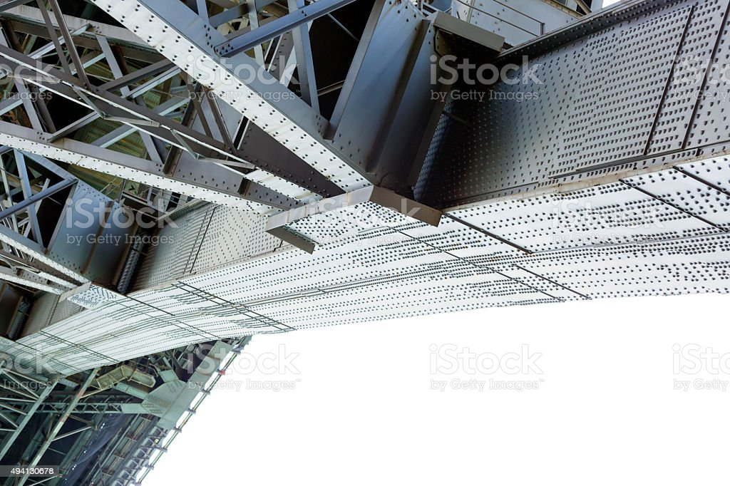 Low angle view of bridge gigantic steel structure, copy space stock photo