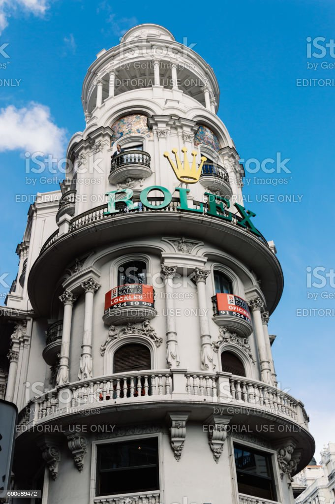 Low angle view of  buildings at Gran Via Street in Madrid. Dome in penthouse stock photo