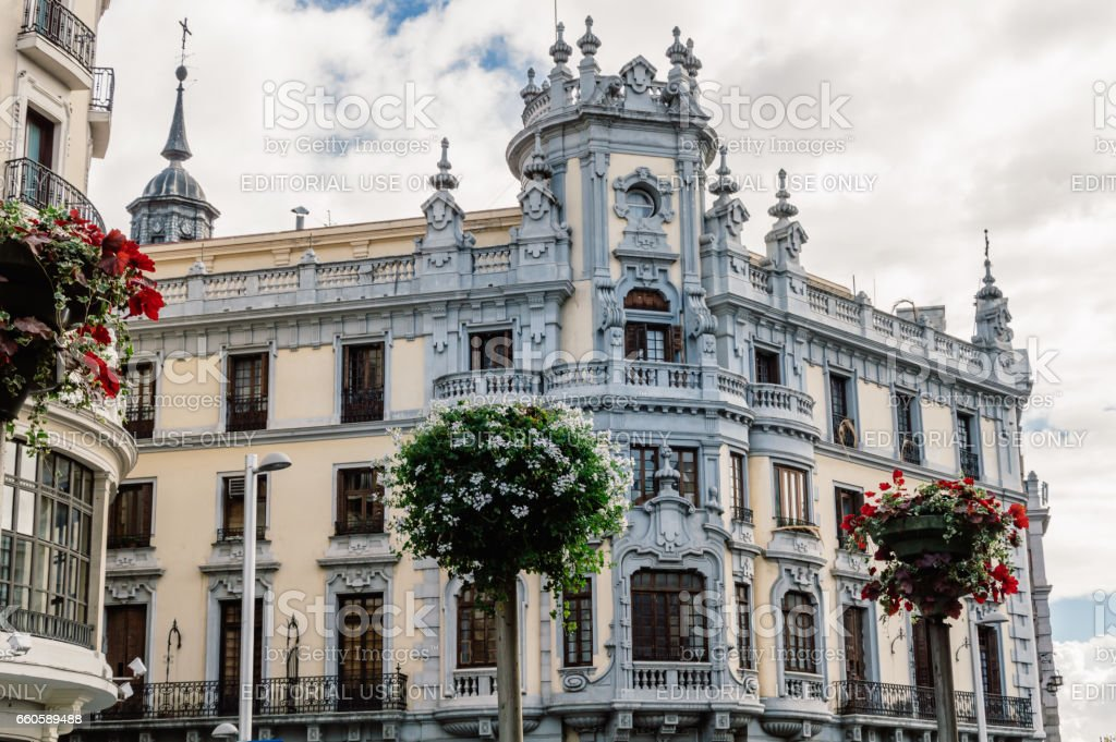 Low angle view of  buildings at Gran Via Street in Madrid stock photo