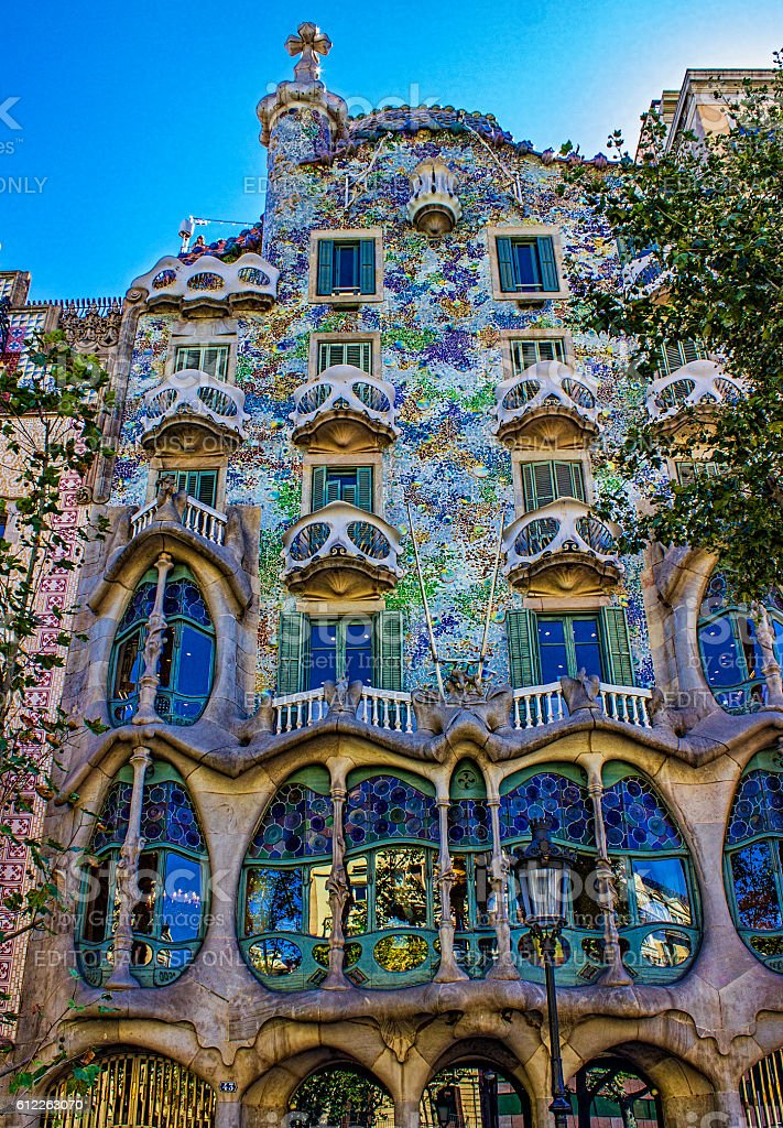 Low angle view of Casa Batllo in Barcelona, Spain stock photo
