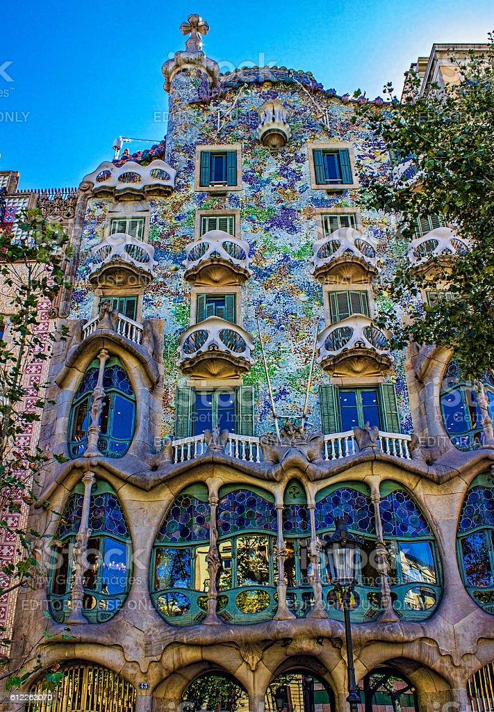 Low angle view of Casa Batllo in Barcelona, Spain stock photo