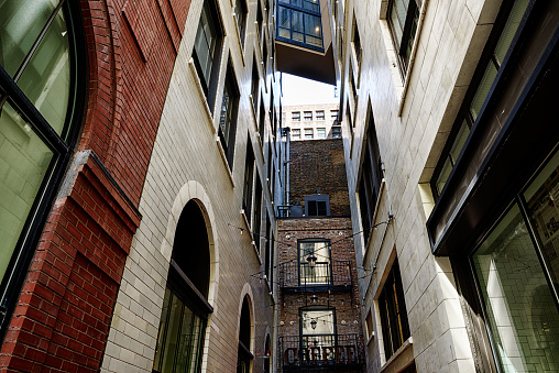 Low angle view of City alley in Chicago
