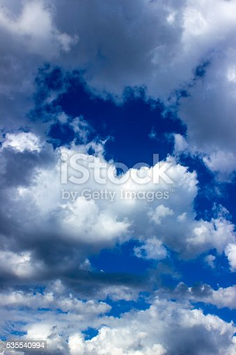 istock Low angle view of cloudy sky 535540994