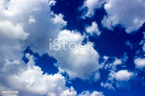 istock Low angle view of cloudy sky 535555298