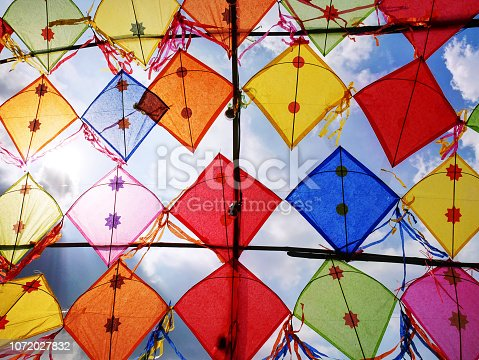 View of Colorful Decorative Kites Against Cloudy Sky
