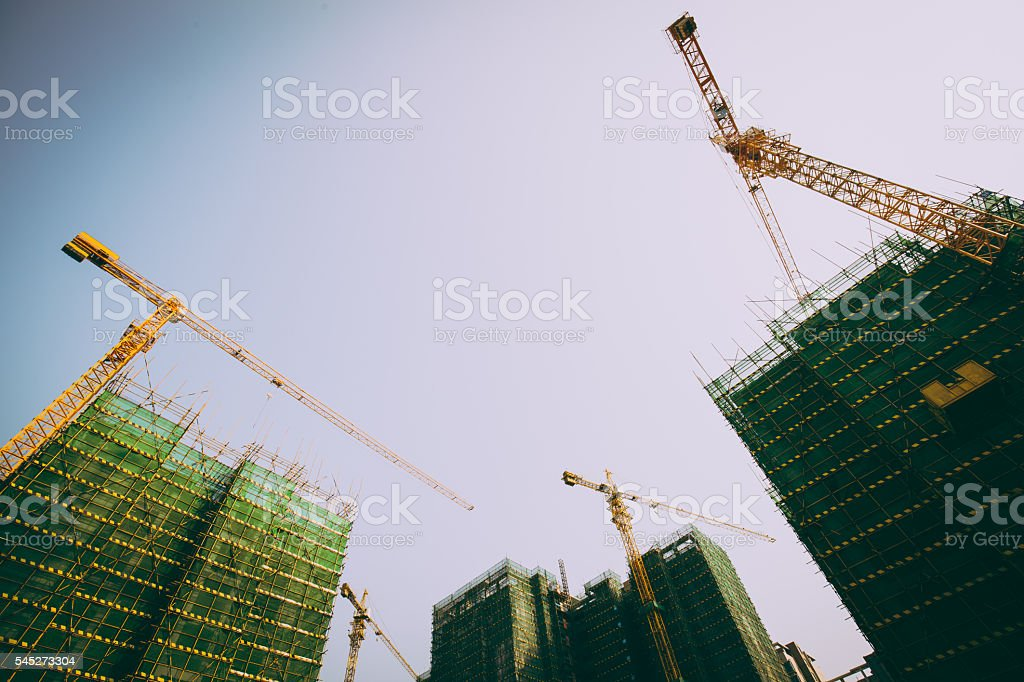 Low angle view of construciton site stock photo