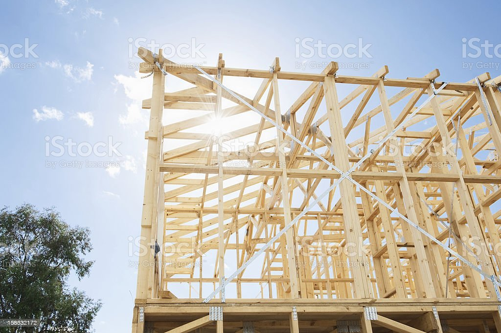 Low angle view of construction in progress stock photo