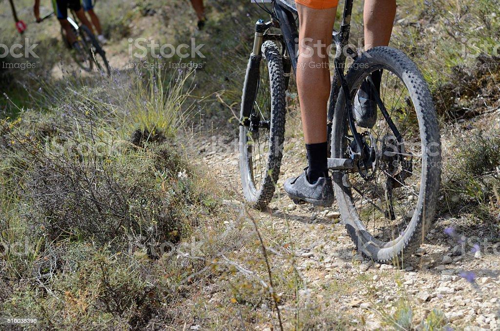 Baja Vista en ángulo de montaña bicicleta montar a caballo montaña bicicleta. - foto de stock