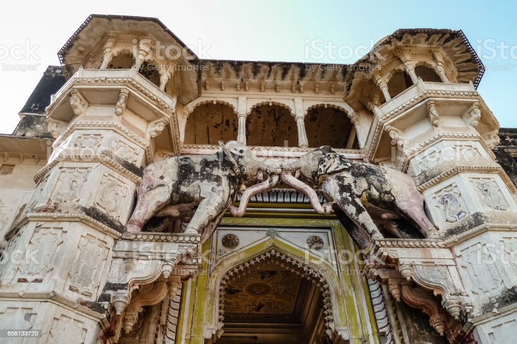 Low angle view of entrance gate Bundi Palace royalty-free stock photo