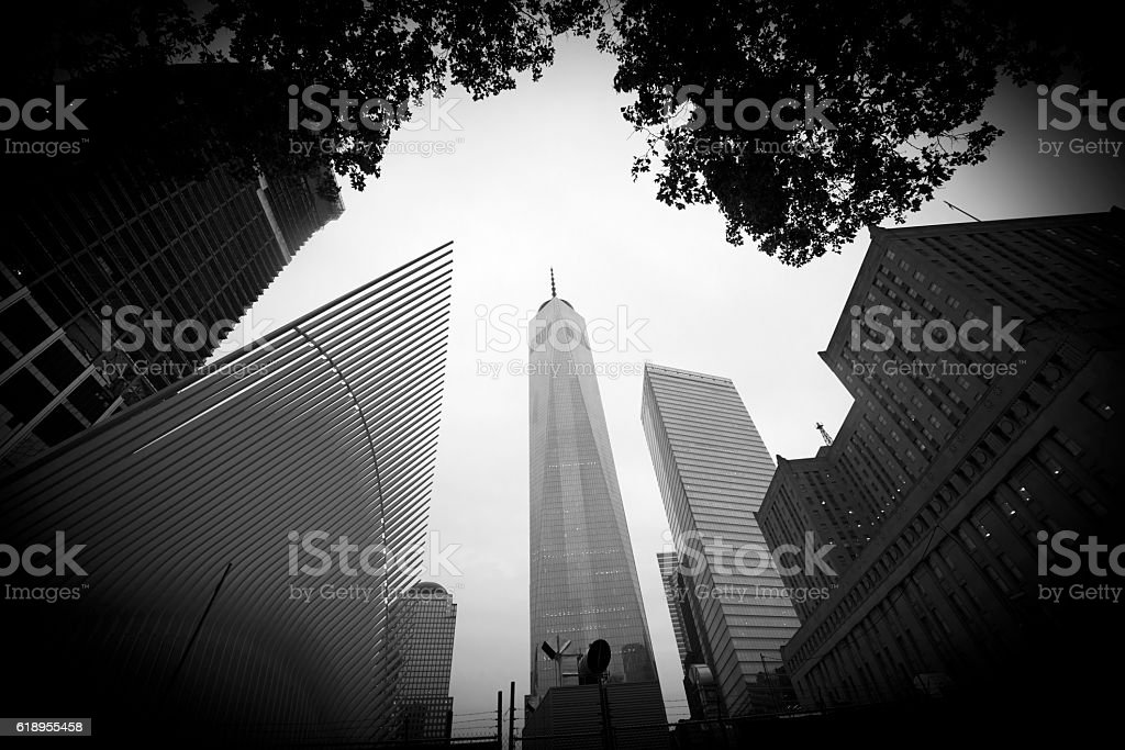 Low angle view of Freedom Tower, New York City stock photo