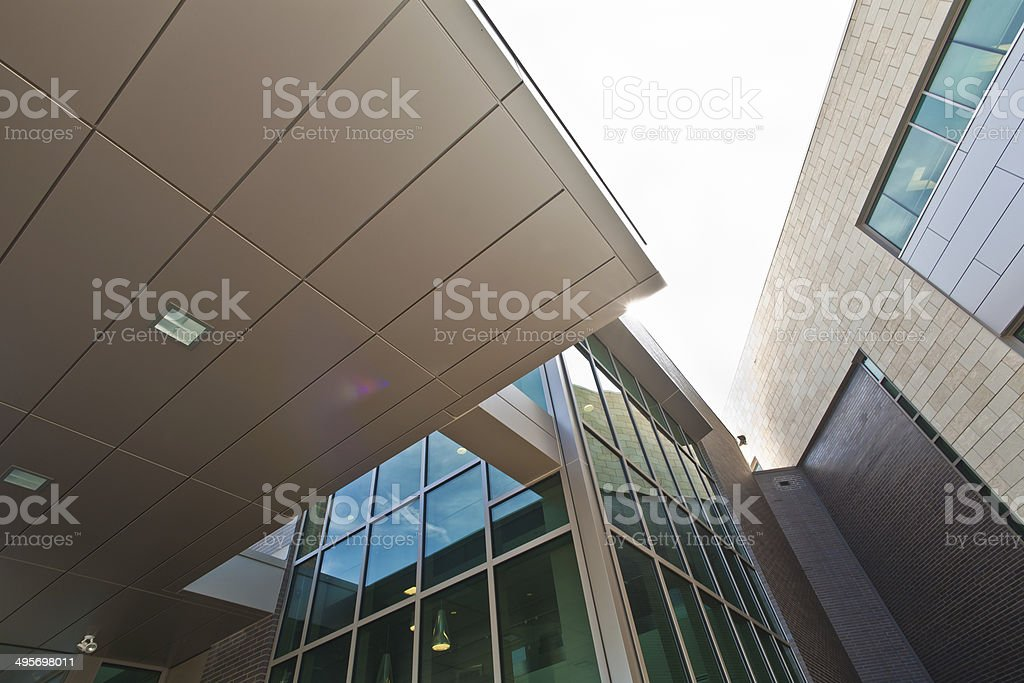 Low Angle View of Futuristic  Architectural Features royalty-free stock photo