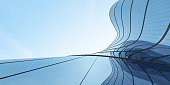 istock Low angle view of futuristic architecture, Skyscraper of office building with curve glass window, 3D rendering. 1300284976