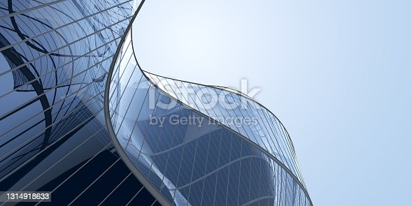 istock Low angle view of futuristic architecture, Skyscraper office building with cloud reflected on window, 3D rendering. 1314918633