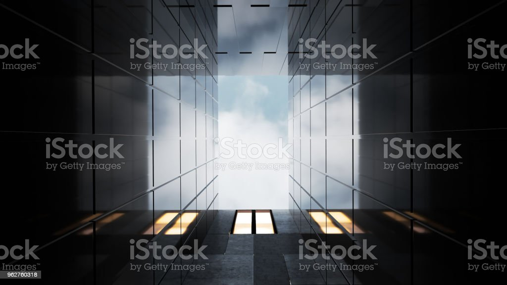 Vista de ângulo baixo de arranha-céus genérico escritório moderno - Foto de stock de Abstrato royalty-free