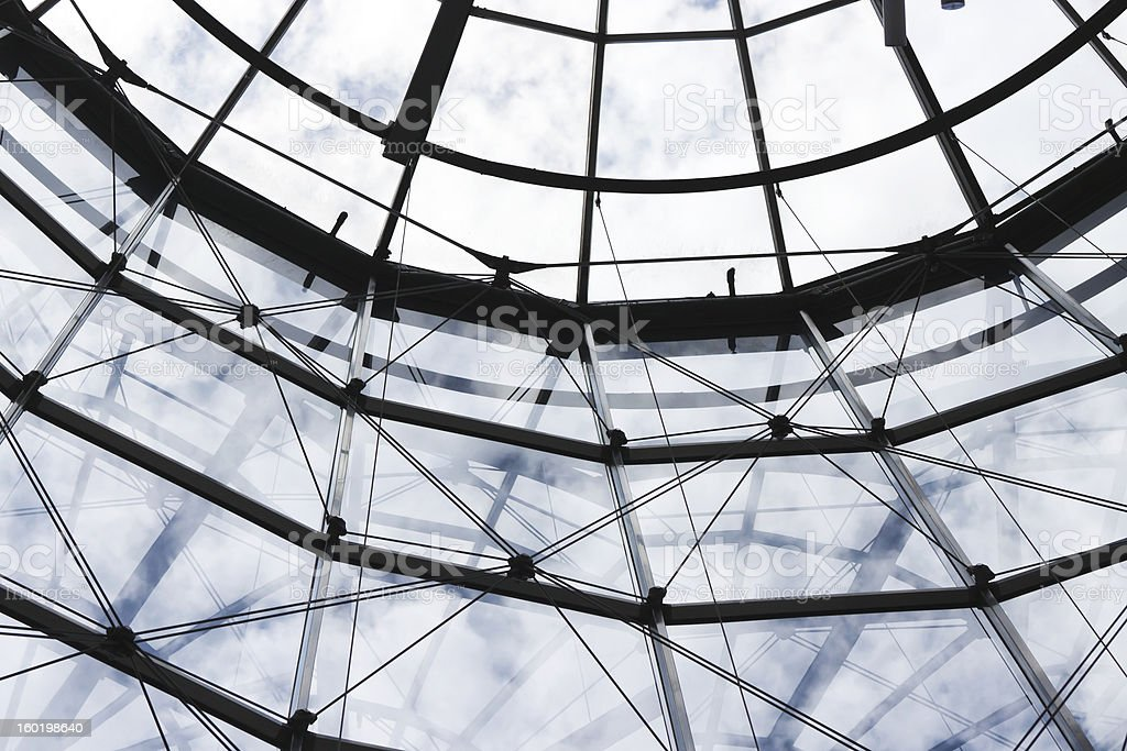 Low angle view of glass ceilling and wall in building royalty-free stock photo