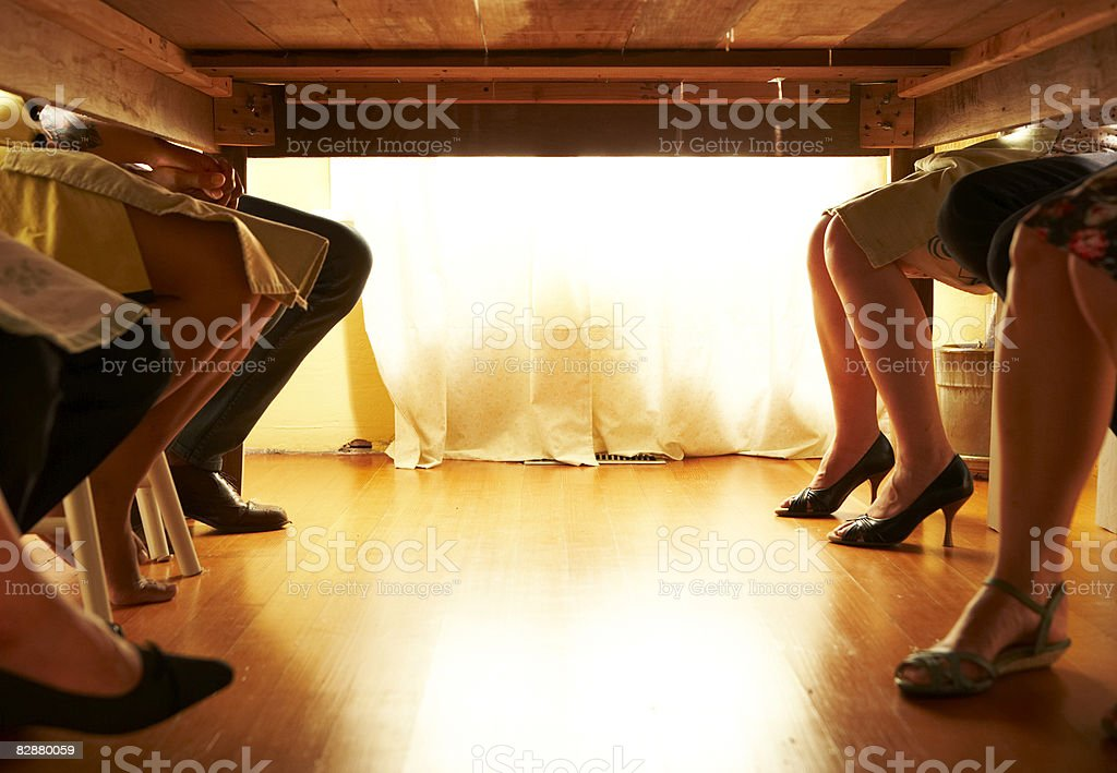 Low angle view of guests at dinner party royalty free stockfoto