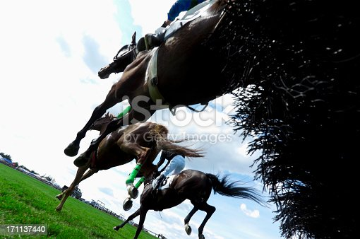 A low angle view of horses landing after jumping a hurdle during a steeplechase horse race.