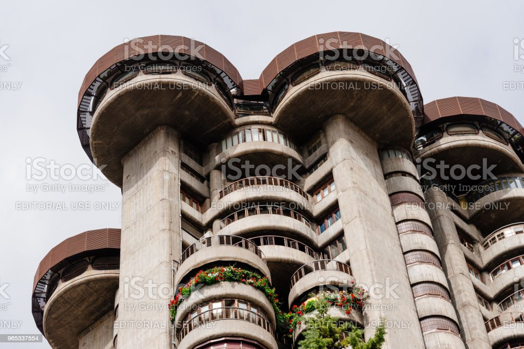 Low angle view of iconic 60s residential skyscraper in Madrid. T royalty-free stock photo