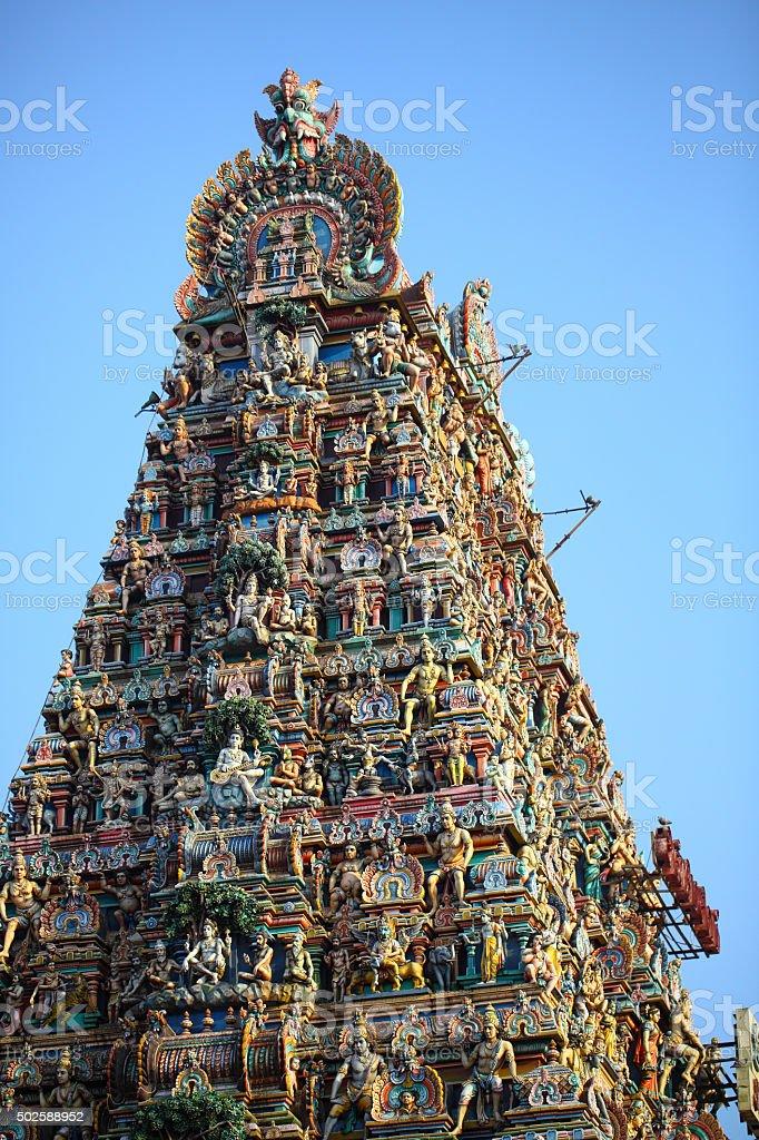 Low angle view of Kapaleeshwarar Temple stock photo