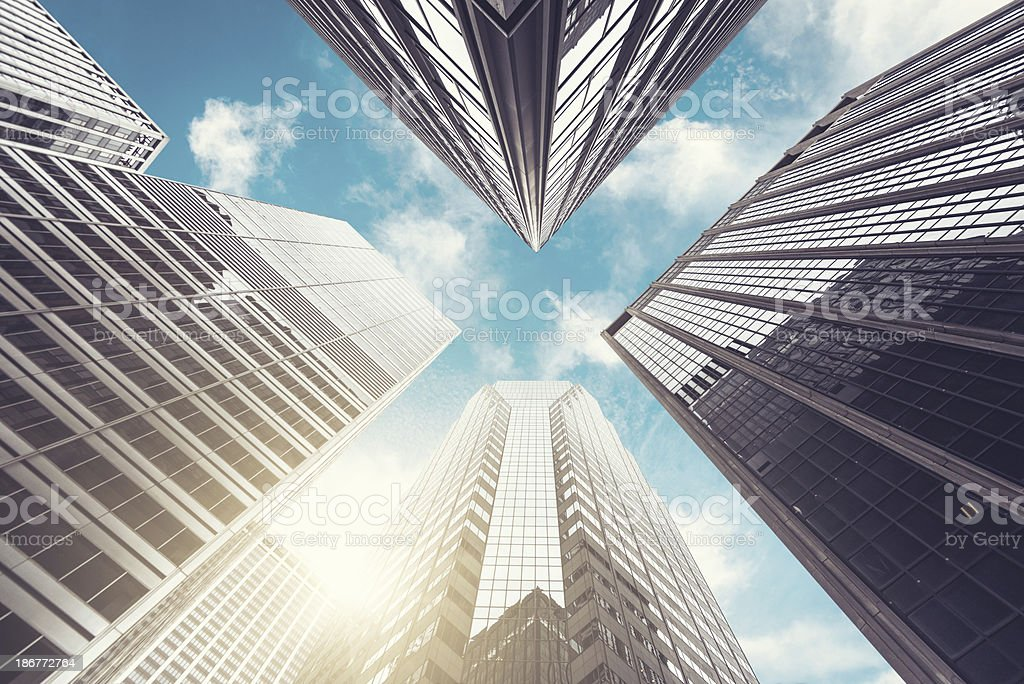 low angle view of Manhattan skyscraper royalty-free stock photo