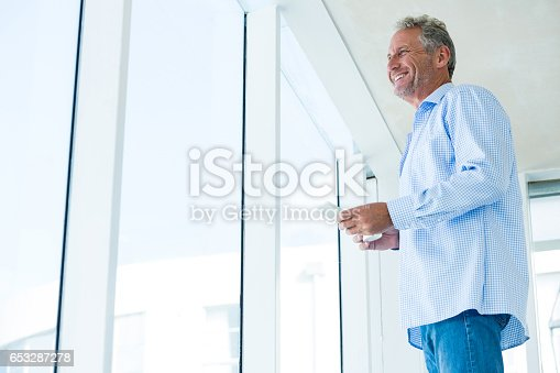 istock Low angle view of mature man holding phone 653287278