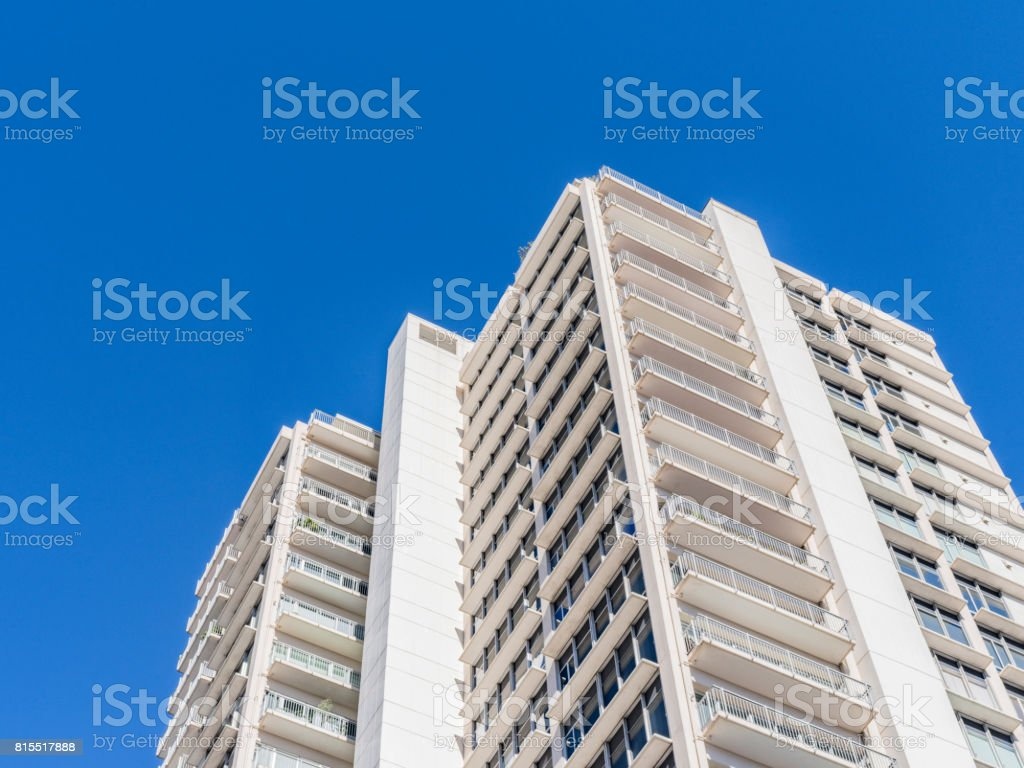 low angle view of modern apartment buildings stock photo