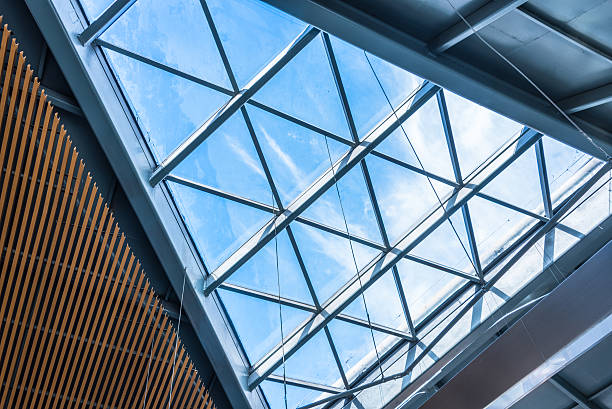 Low angle view of modern ceiling Low angle view of modern ceiling in city of China. man made structure stock pictures, royalty-free photos & images
