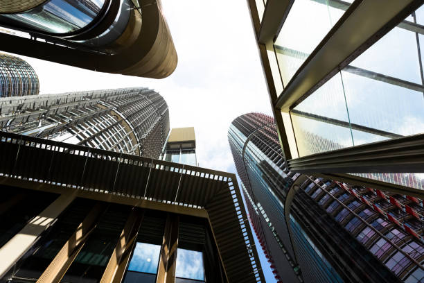 low angle view of modern office buildings, skyscrapers, copy space - barangaroo stock photos and pictures