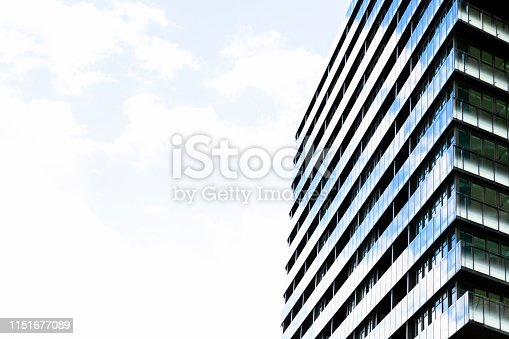 Low angle view of modern residential building, Green Square, Sydney Australia, sky background with copy space, full frame horizontal composition