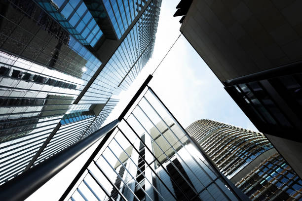 low angle view of office buildings, skyscrapers, abstract background - barangaroo stock photos and pictures