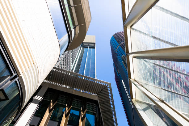 low angle view of office buildings, skyscrapers, copy space - barangaroo stock photos and pictures
