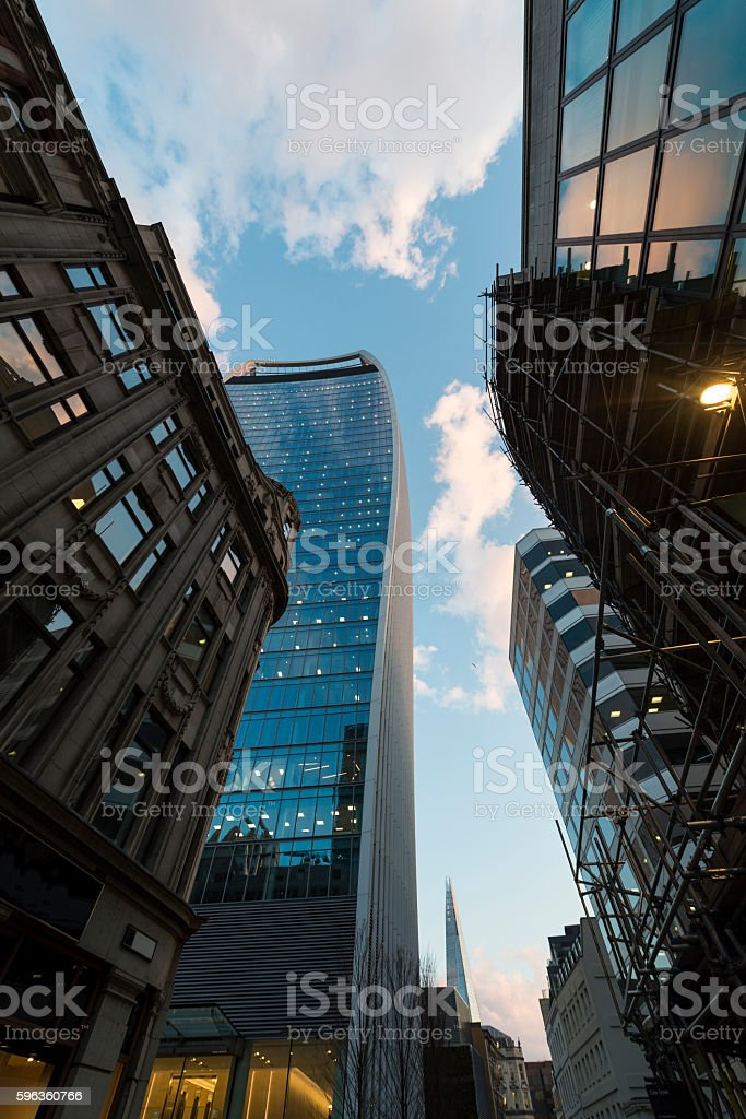 Low angle view of old and modern buildings exterior royalty-free stock photo